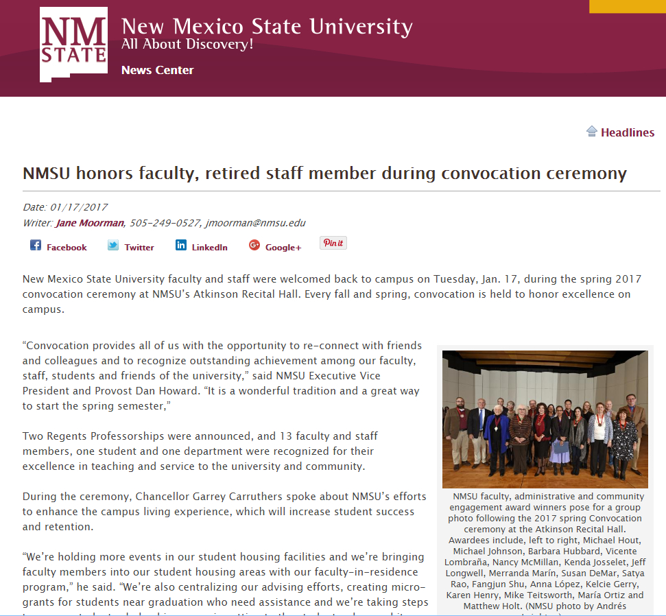 Nice In August, 2016, NMSU Covered The Awards Given Out At The Fall Convocation,  Of Which I Was A Recipient (for Early Career Exceptional Achievement In ...